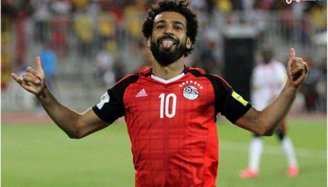 Mohamed Salah scores against Uganda